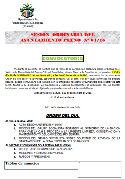 Convocatoria Pleno 29 09 2016